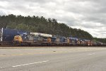 CSX 301, 5427, 8853, and 8388 wait for green