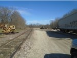 track on left heads north back to main line, tracks right deadend at Kaskaskia River