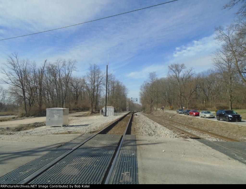 crossing east tracks looking north