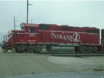 Indiana Railroad 3805 stopped to let off switchman to start switching cars around