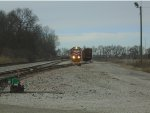 Indiana Railroad 3805 backs to hoppers