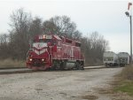 Indiana Railroad 3805 pulls forward to clear switch