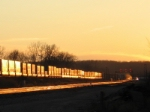 BNSF 4134 heads into the sunset