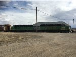 A pair of ex BN sd40-2's are the motive power for the Cody Local