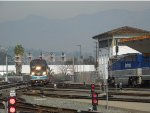 A meet between an Amtrak and Metrolink