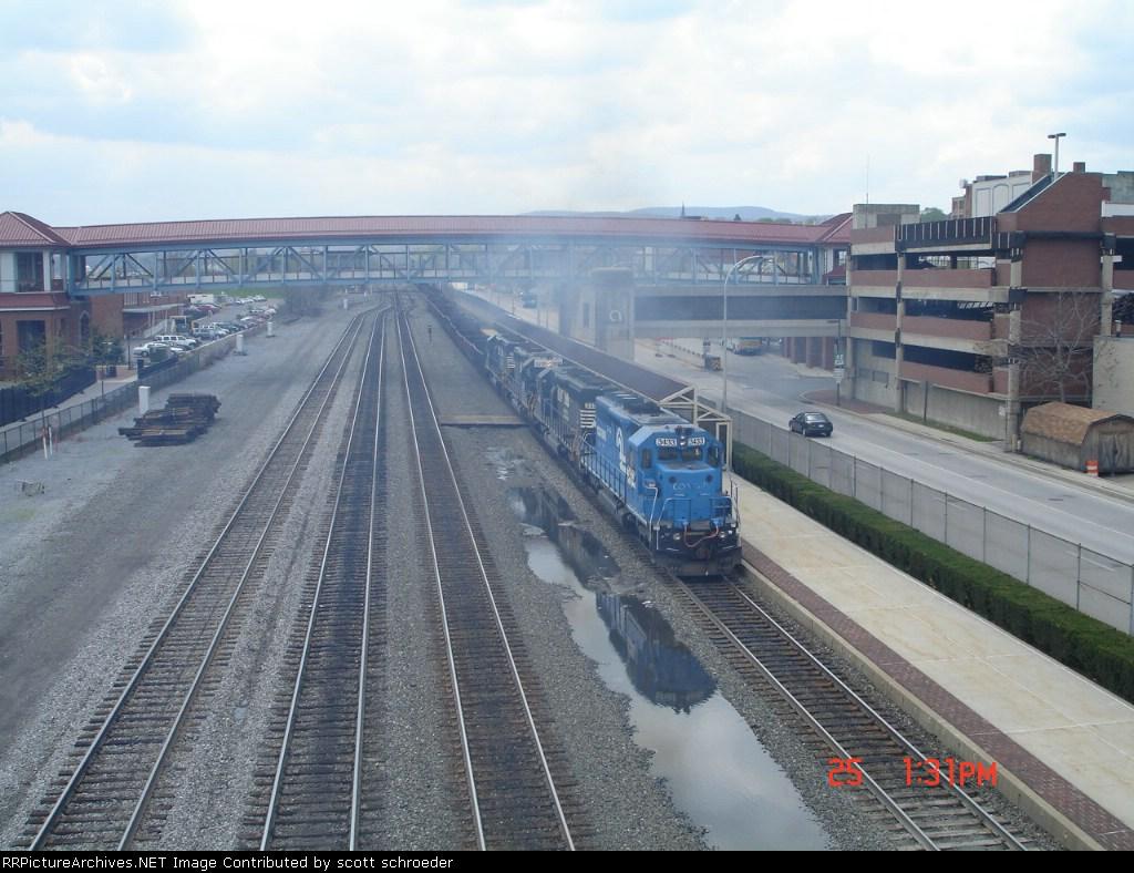 2 sets of SD40-2 helpers push this WB steel slab Gondola Train