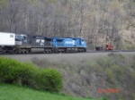 NS 9763 & NS 8354 heading EB past the MOW Crews