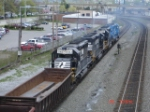 NS 3364, NS 3372, NS 3351 & NS 3433 all push this WB steel slab Gondola Train