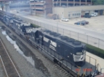 NS 3364, NS 3372 & NS 3351 push a steel slab Gondola Train WB