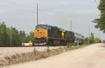 CSX 3293 and 535 roll SB with covered hoppers