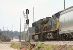 While CSX 5417 waits for NB green, CSX 3293 and 535 roll SB with covered hoppers