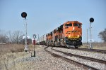 BNSF 8532 Races east with a Z9 in tow.