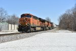BNSF 7399 Drags a Z into Bevier Mo.