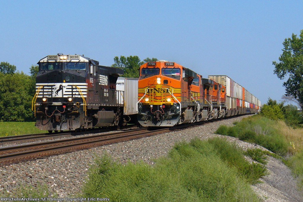 BNSF 7730 west passes NS 9036