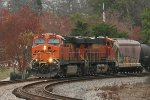 BNSF 5784 and 7146 round the curve approaching College St