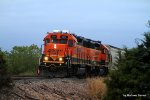 BNSF 2372 leads a local creeping off of the GM spur