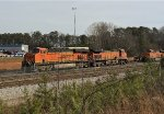 BNSF 7208 lays over