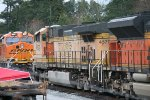 BNSF 4579 lays over