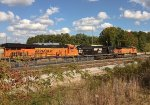 BNSF 6950 and NS 7018 lay over