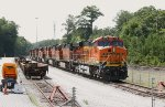 BNSF 7312 lays over