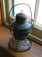 IC Railroad lantern at the Amboy depot museum