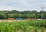 A westbound manifest is seen among some nice farm scenery