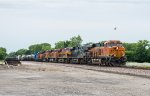 BNSF 7935 leads a wild lash-up into Afton, OK