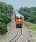 BNSF 9224 leads a silver snake west