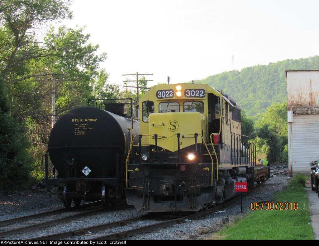 By the tank cars