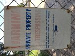 "An old ""NO TRESPASSING"" sign from Amtrak"