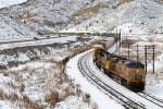 UP C45ACCTE (ES-44AC) # 7905 leads the eastbound KOAG2 22 as it approaches the Echo Canyon Rd. OHB in Emory, UT. February 24, 2018