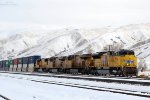 UP SD-70ACE #8784 leads the eastbound ILXJLX 21 through the bustling metropolis of Echo, UT. February 24, 2018
