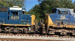 CSX GP40-2 6472 and AC44CW 94 nose to nose