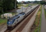 Amtrak train #20 stretched out departing  Lynchburg