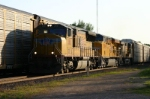 UP 3851 leads a rack/stack train