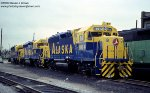 New Alaska Railroad GP40-2s 3014, 3013 and 3012, are beginning their journey to Alaska at Burlington Northerns Clyde Yard in Cicero, Illinois - July 2, 1978.
