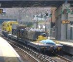 Metro-North BL14CGs 401 & 402 towing maintenance flatcars
