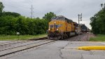 UP 8213 leads an east bound intermodal train