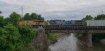 Tanker train stopped on a bridge