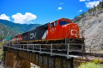 CN 5797 BCOL 4607 EB on the CP Thompson Subdivision Crossing the Nicaomen River