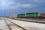 BNSF 7023 with ballast train