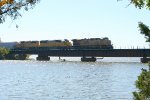 UP NB freight crossing Lake Dardanelle