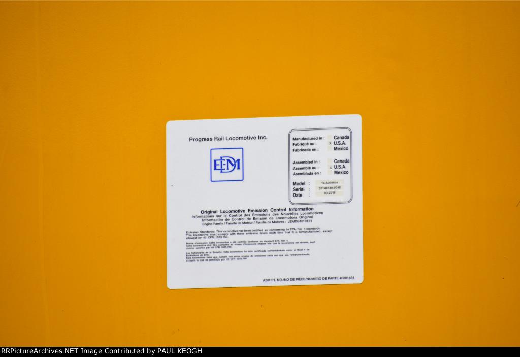 UP 3069 EMD Data Plate Closer Shot.