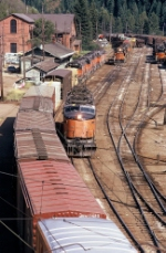 Three trains converge on the yard