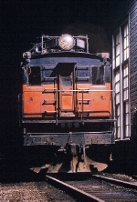E29 at night-time outside the locomotive shed