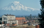 Milw Rd Tacoma Yard with Mount Rainier in the distance