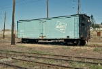Milw Rd baby blue boxcar in the yard