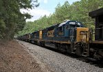 CSX 6445 runs third in a line of 9 units and an F40PHM-2 in tow at Gordon St