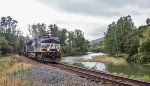 NS 9445 leads intermodal train 13K along the Hoosick River