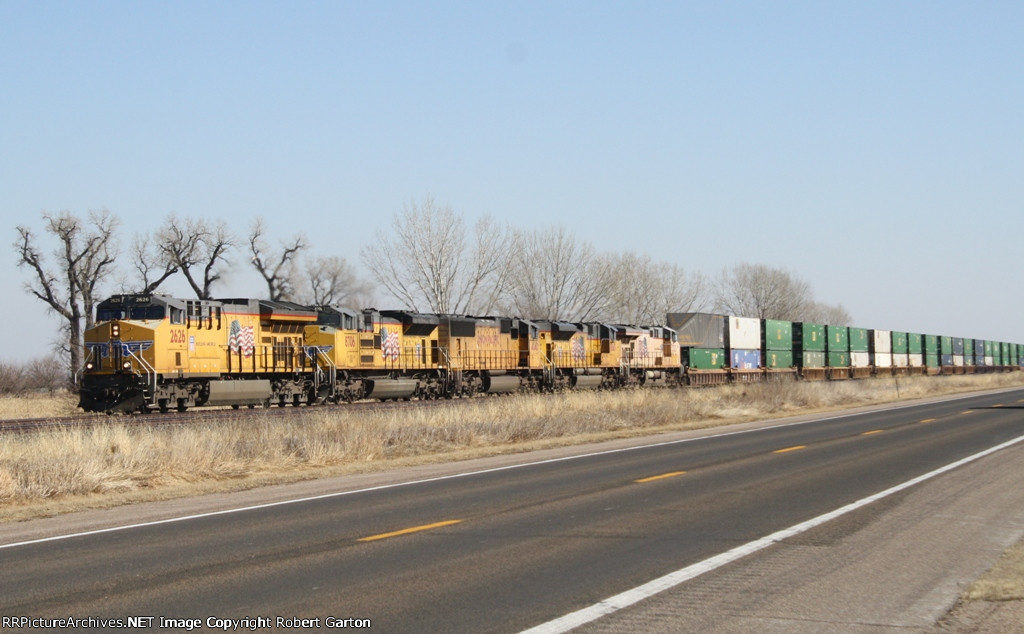 UP 2626 Heads Up an Interesting Lash-up of Power on a Hot Westbound Intermodal Train